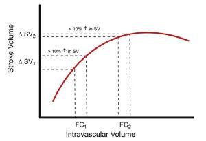 Hình 2. Tối ưu hóa thể tích nhát bóp (SV) dựa trên đường cong Frank-Starling.