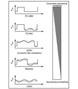 Hình 1. Biểu diễn đồ họa của thông khí bắt buộc kiểm soát áp lực liên tục (CMV), thông khí bắt buộc kiểm soát áp lực ngắt quãng (IMV), thông khí bắt buộc kiểm soát áp lực với tỷ lệ nghịch đảo đảo (thông khí giải phóng áp lực đường thở; APRV), thông khí hai pha và CPAP. Người ta có thể nhận thấy sự khác biệt trong hơi thở tự nhiên trong khi hít vào và thở ra và tỷ lệ hít vào-thở ra. Nguồn gây nhầm lẫn thường xuyên nhất trong các tài liệu là kết hợp APRV và thông khí hai pha trong cùng một nhóm. Từ Ref. 4, với sự cho phép.