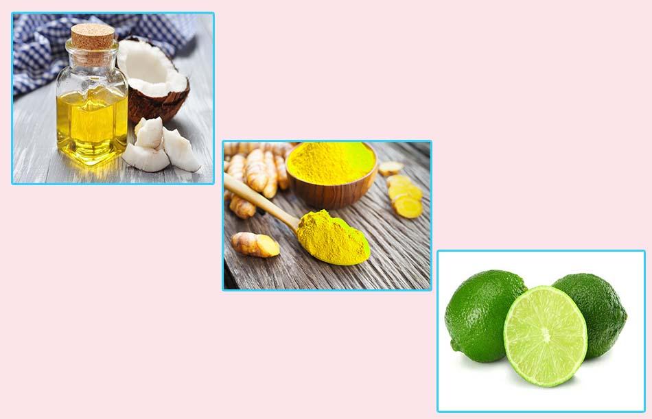 Dầu dừa, tinh bột nghệ và chanh