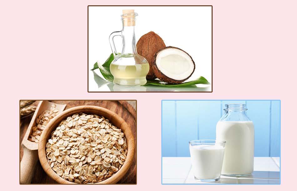 Kết hợp dầu dừa, sữa tươi và yến mạch