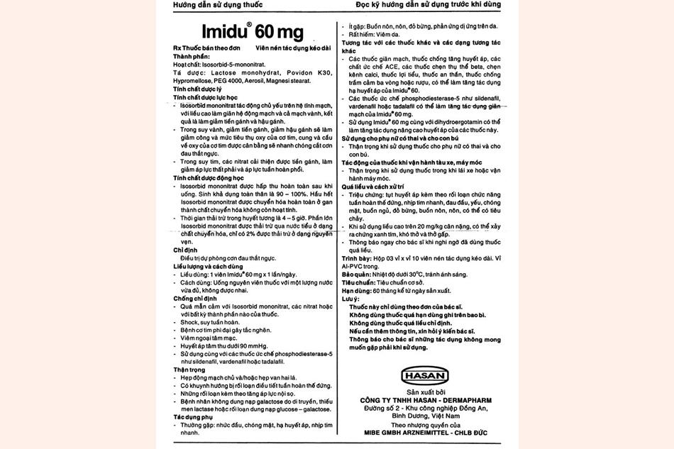 Tờ hướng dẫn sử dụng thuốc Imidu 60mg