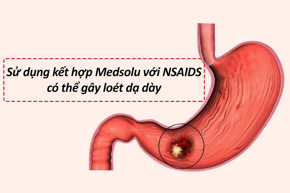 Sử dụng kết hợp Medsolu với NSAIDS có thể gây loét dạ dày
