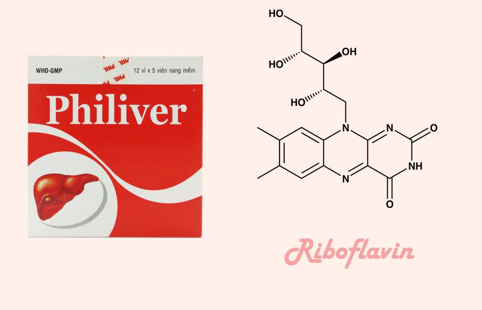 Thành phần Riboflavin trong thuốc Philiver gây ra tương tác bất lợi với rượu