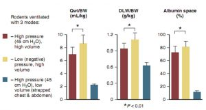 Hình 1-2 Con vật thử nghiệm có phổi bình thường được thông khí với áp lực hít vào cao (45 cm H2O) và không giới hạn chuyển động thành ngực (màu đỏ), áp lực hít vào cao nhưng với chuyển động thành ngực bị giới hạn bởi một dải băng đàn hồi chặt quanh ngực và bụng (màu xanh), hoặc áp lực cực âm cao (màu vàng).