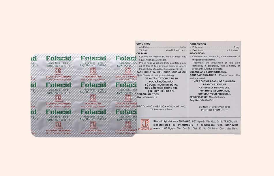 Hình ảnh bao bì thuốc Folacid