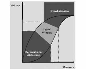 """Hình 1. Mối quan hệ áp suất và thể tích của hệ hô hấp cho thấy các vùng của máy thở làm tổn thương phổi và """"vùng an toàn"""" lý thuyết."""