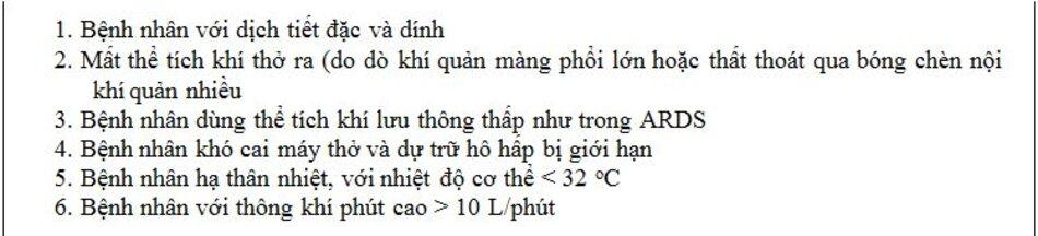 Bảng 2: Chống chỉ định đối với bộ trao đổi nhiệt và độ ẩm theo Hướng dẫn thực hành lâm sàng AARC 2012 [11].