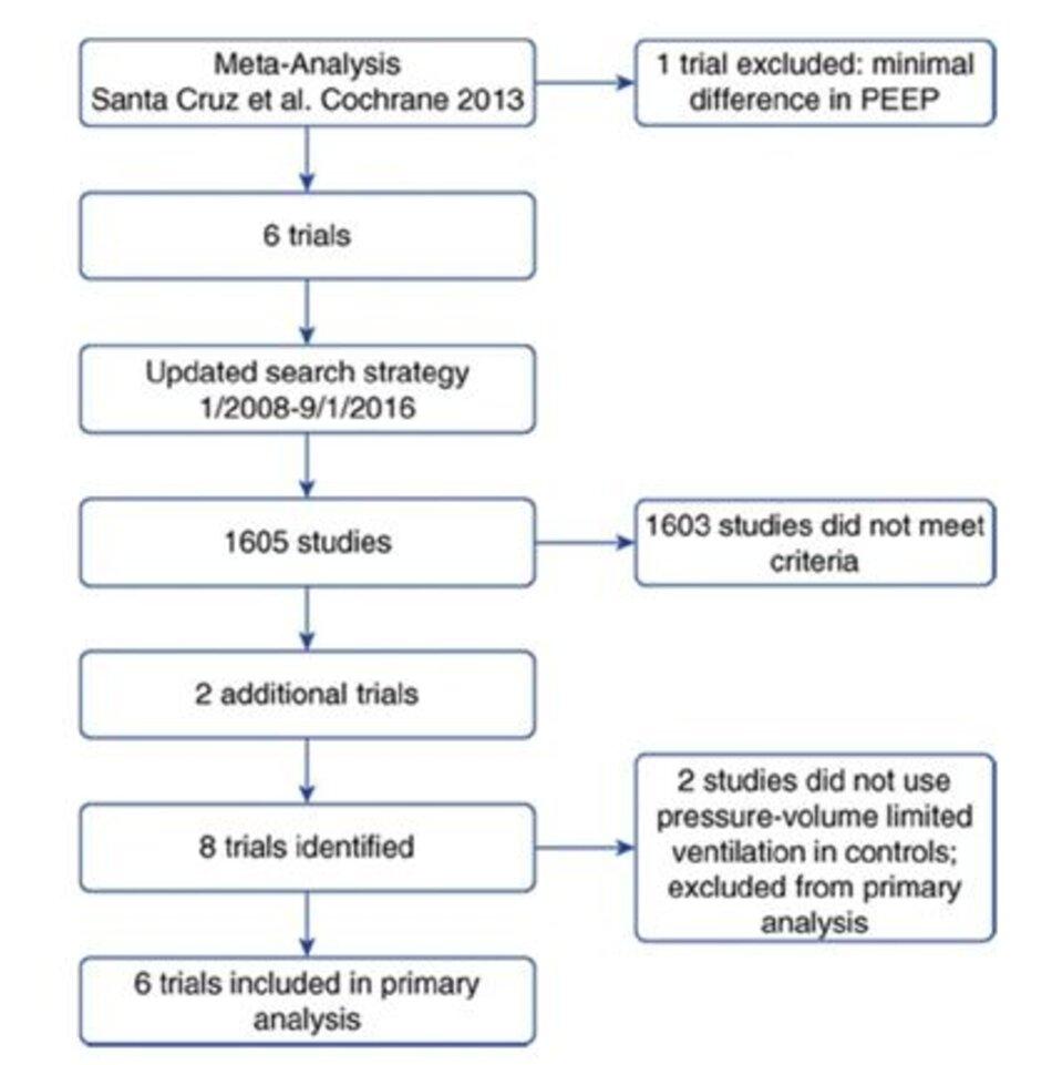Hình 1. Sơ đồ các nghiên cứu được đưa vào. PEEP=positive end-expiratory pressure.