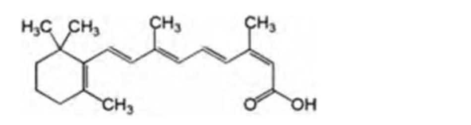 Hình 19.4 Isotretinoin: cấu trúc hóa học của 3,7-dimethyl-9-(2,6,6- trimethyl-1- cyclohexenyl)-nona-2,4,6,8-tetraenoic acid.