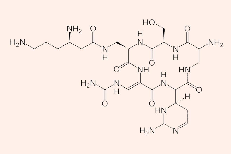 Cấu trúc hóa học chứa nhiều liên kết peptide của Capreomycin