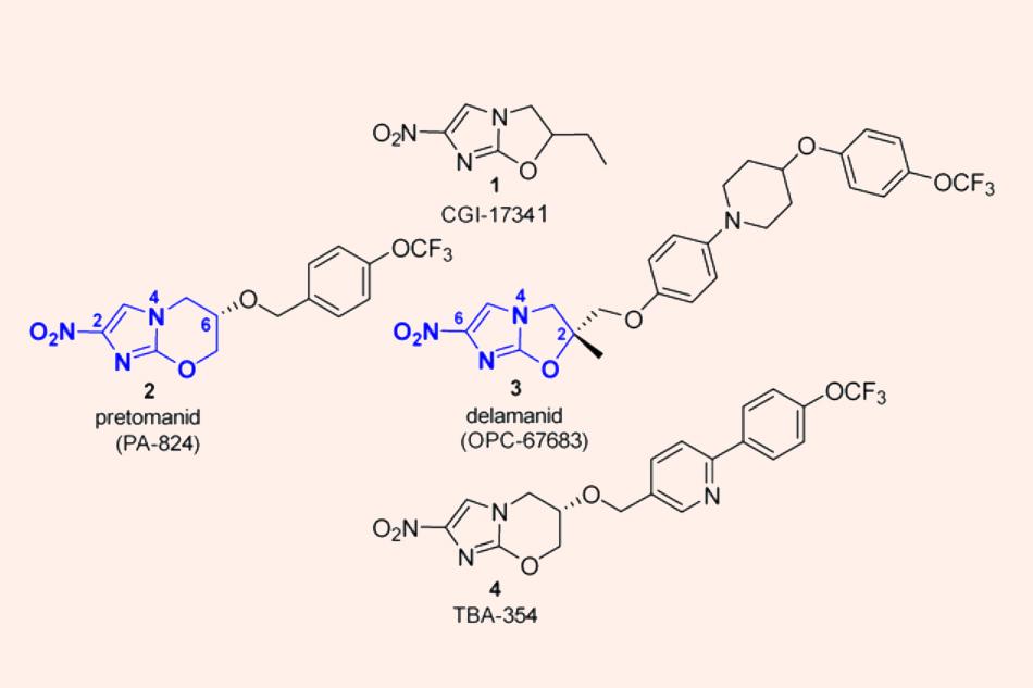 Cấu trúc hóa học của Delamanid, Pretomanid và TBA-354, các thuốc thuộc nhóm Nitroimidazole