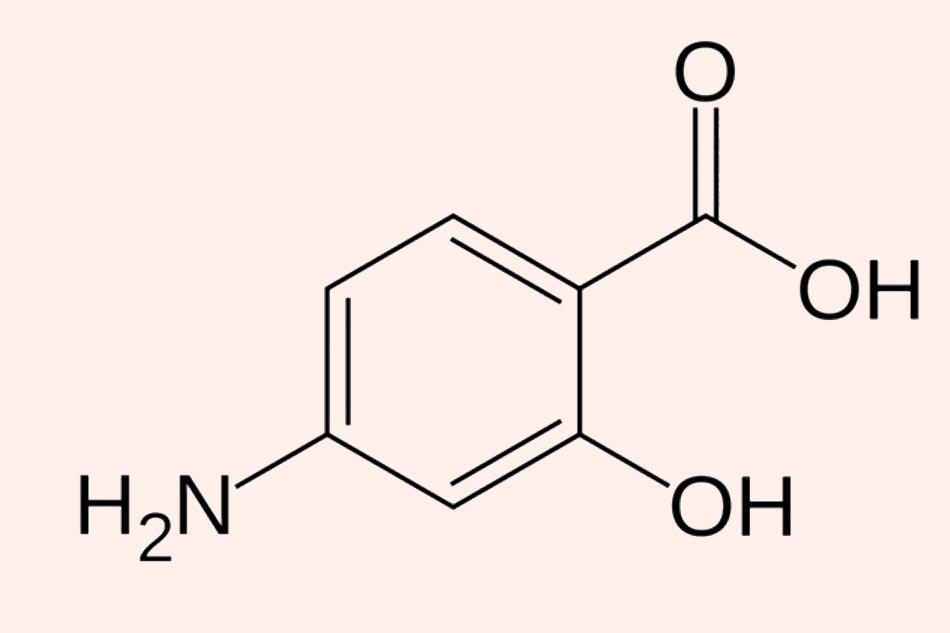 Cấu trúc hóa học đơn giản của Para-aminosalicylic acid (PAS)