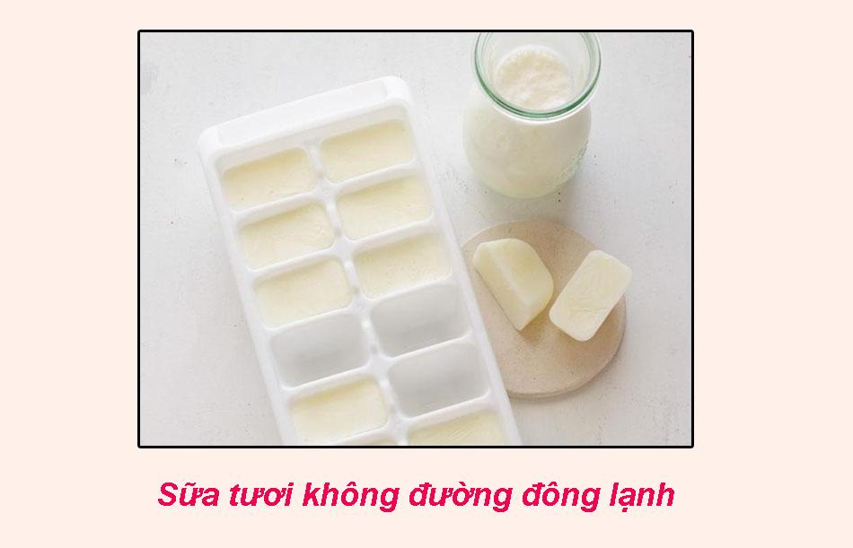 Trị thâm mụn bằng sữa tươi không đường đông lạnh