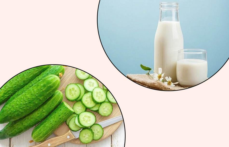 điều trị thâm mụn bằng sữa tươi không đường và dưa leo