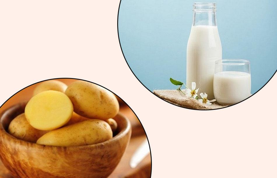 Trị thâm mụn bằng sữa tươi không đường và khoai tây