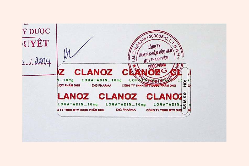 Nhãn vỉ thuốc được đăng ký