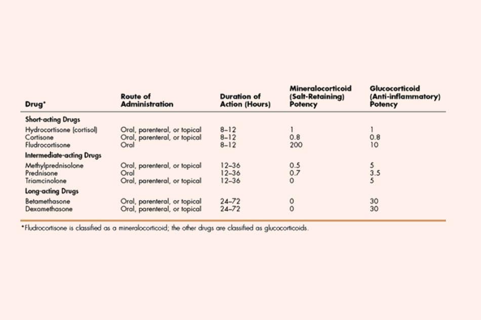 Bảng phân loại các Corticoid theo thời gian tác dụng