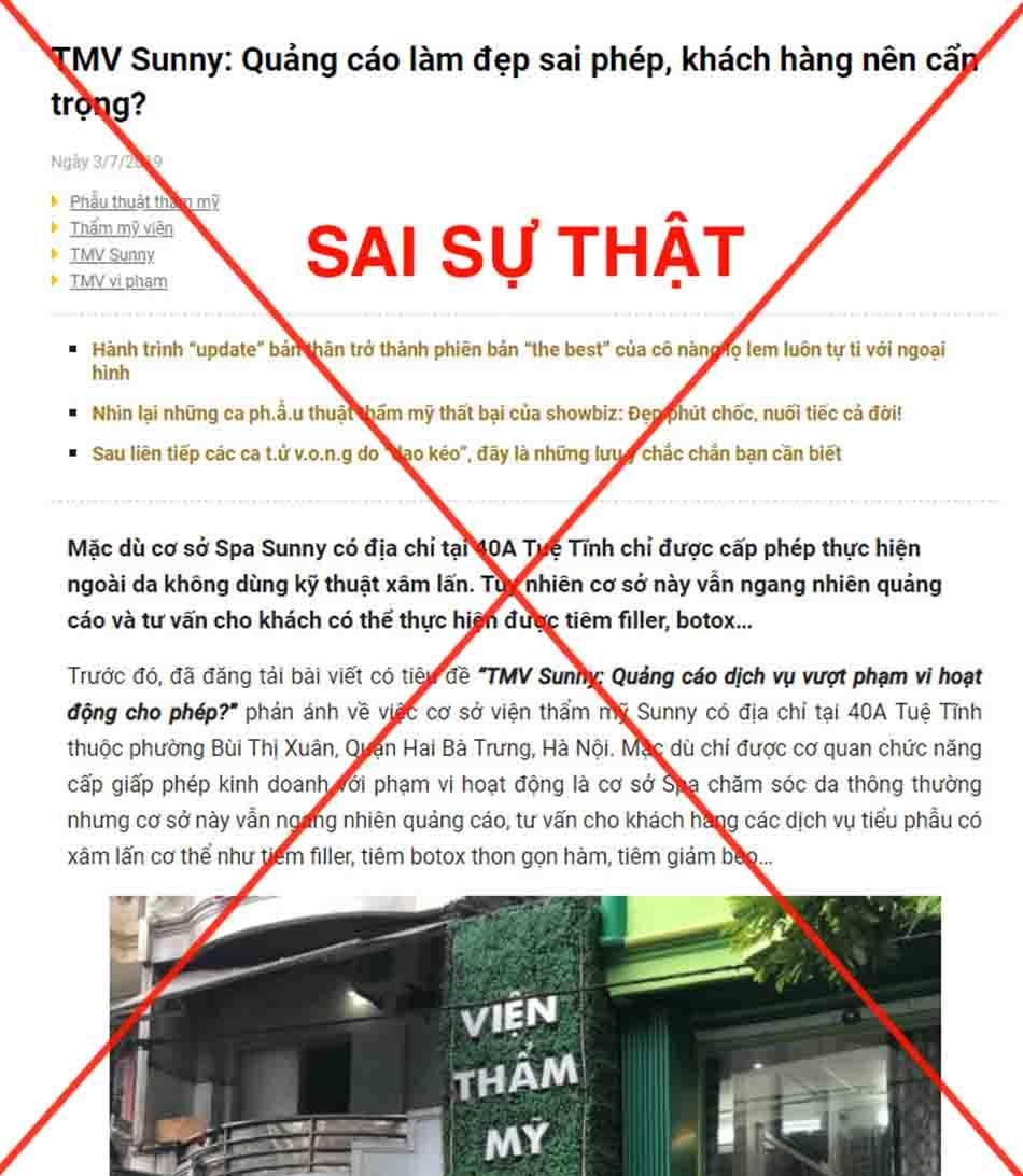 Hình ảnh về những thông tin sai lệch ảnh hưởng đến TMV Sunny