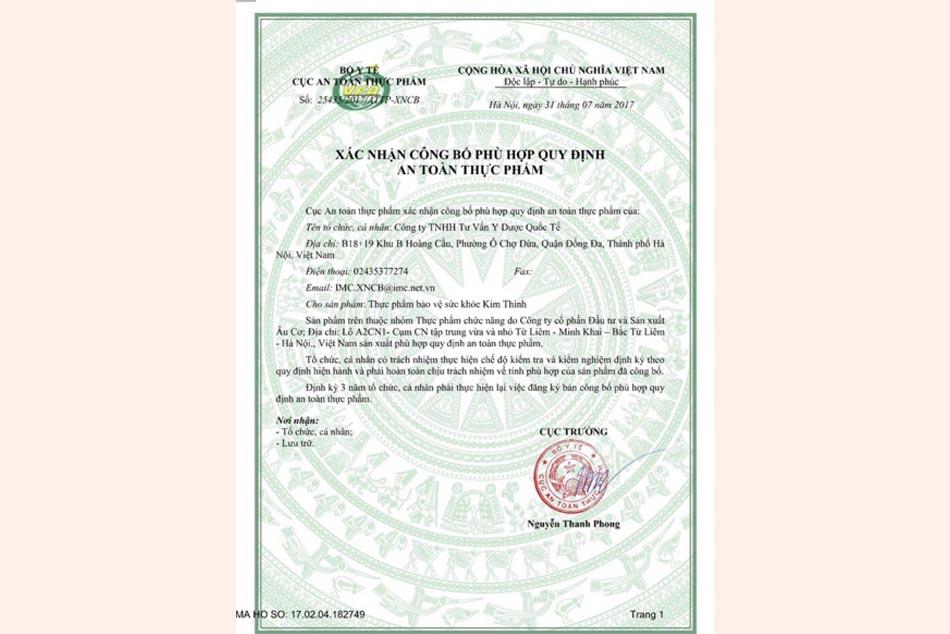 Giấy xác nhận Kim Thính phù hợp quy định an toàn thực phẩm