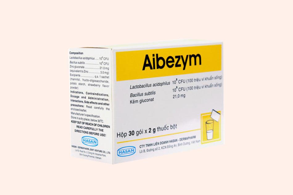 Hình ảnh mặt bên của hộp thuốc Aibezym