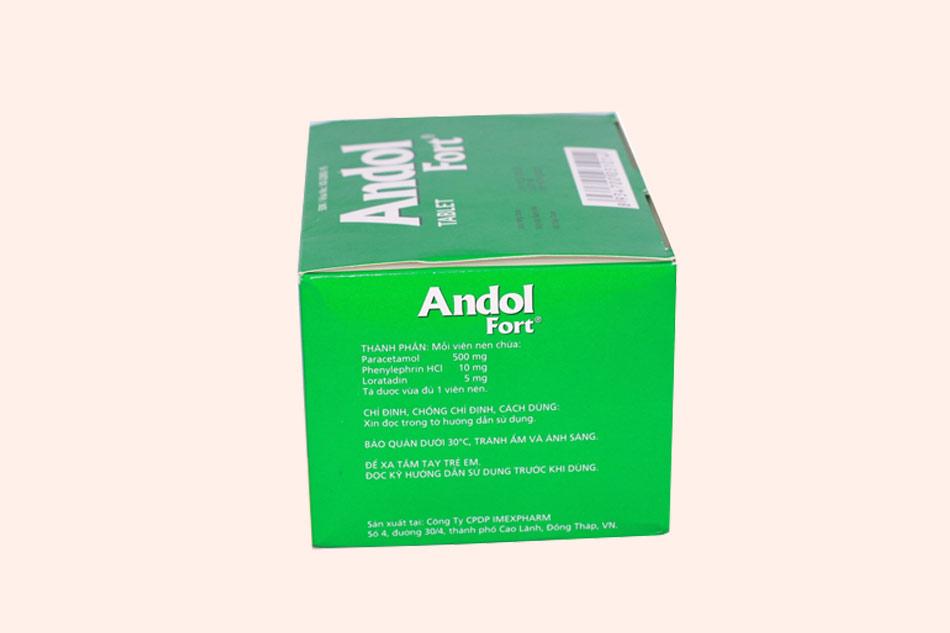 Hình ảnh mặt bên của thuốc Andol Fort