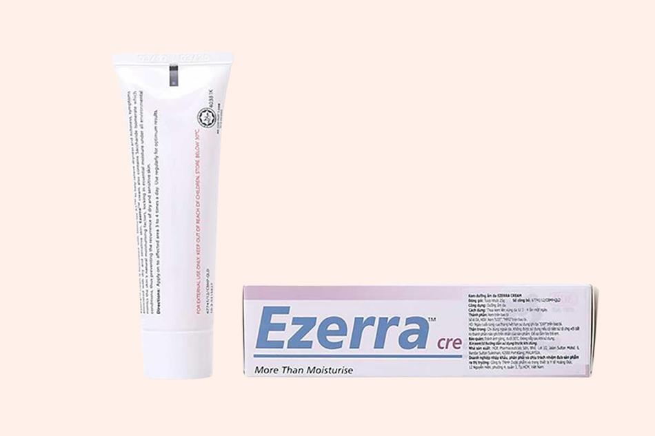 Hình ảnh mặt sau của hộp và thuốc Ezerra Cream