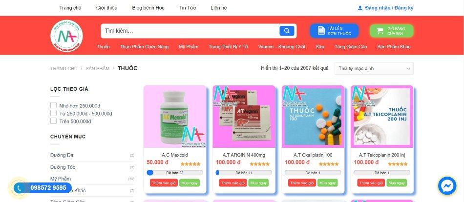Tại website của nhà thuốc Ngọc Anh phân phối đa dạng các loại thuốc và sản phẩm chức năng